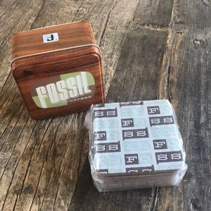 Fossil Tin with 15 Paper Fossil Embossed Coasters